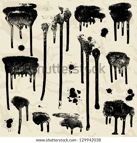 Vector Ink splatters. Grunge design elements collection. - stock vector