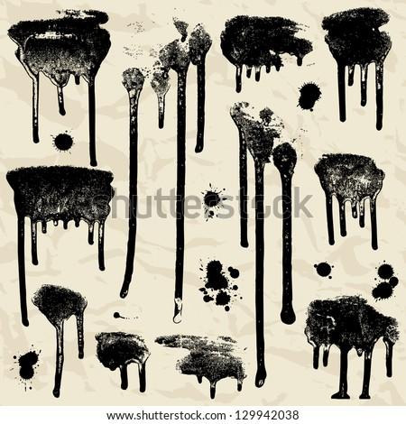 Vector Ink splatters. Grunge design elements collection. - stock vector
