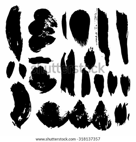 Vector ink stain Vector set of dark blots Isolated on white background Abstract vector background set for design use Collection of black paint splash. Vector set of brush strokes. Ink Splat Set