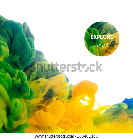 Vector Ink swirling in water, cloud of ink in water isolated on white. Abstract banner paints.  - stock vector