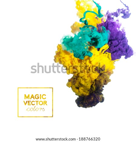 vector Ink swirling in water, cloud of ink in water isolated on white. Colorful ink in water abstract banner - stock vector