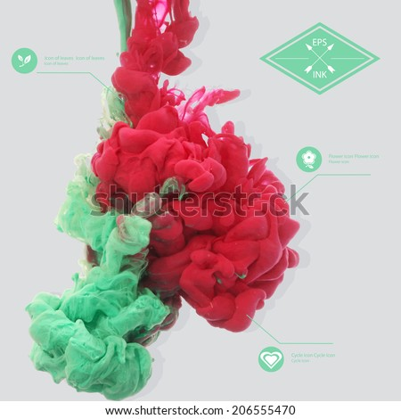 Vector ink swirling in water. Isolated cloud of red and green ink on grey. Template design for banner. Paint in water on white background. Splashes of paint. Texture of ink, paint in water  - stock vector