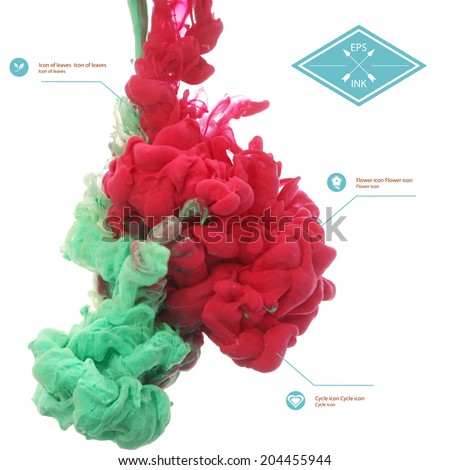 Vector ink swirling in water. Isolated cloud of red and green ink on white. Template design for banner. Paint in water on white background. Splashes of paint. Texture of ink, paint in water - stock vector