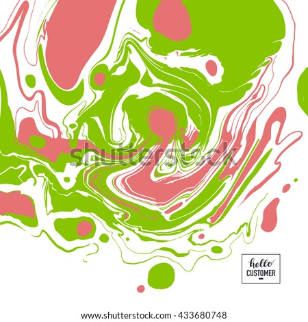 Vector Ink texture. Hand drawn marbling illustration technique. Watercolor stains, abstract background, aqua print artistic effect. Cover design for party invitation, trendy graphic, suminagashi art.  - stock vector
