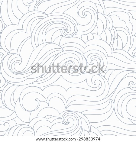 Vector inky hand drawn free style waves background. Abstract seamless pattern. - stock vector