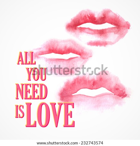 """Vector inscription  """"All You need is Love"""" poster or greeting card - stock vector"""