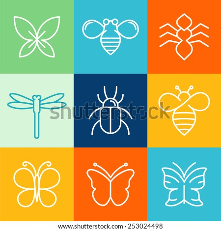 Vector insects and bugs logo design elements - mono line icons and signs - stock vector