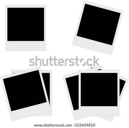 Vector instant photo frames set - stock vector