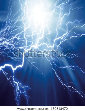 Vector intense electrical discharge on a dark background - stock vector