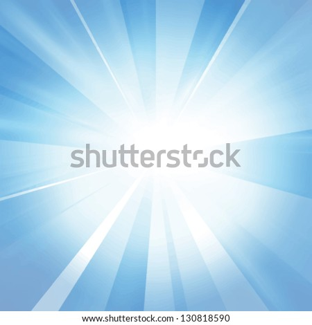 Vector intense sun on a soft blue background - stock vector