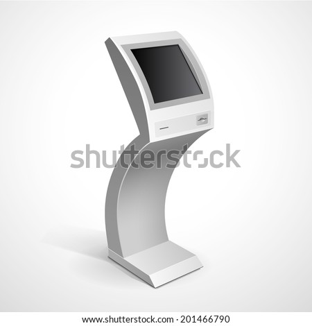 Vector Interactive Information Kiosk Terminal Stand Screen Display Console Infokiosk - stock vector