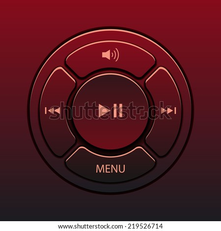Vector interface design elements music player icons - stock vector
