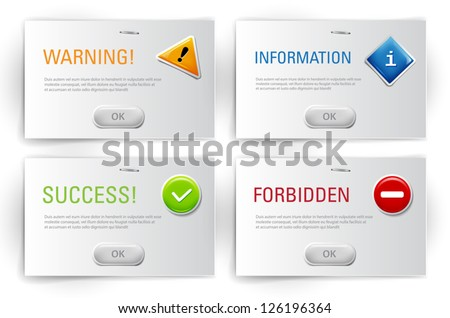 Vector interface dialog boxes with glossy icons - stock vector