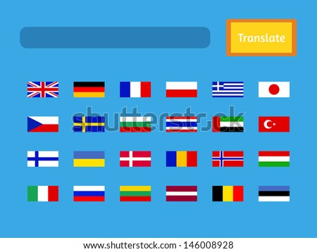 Vector interface of mobile translator application. Set of flags, United Kingdom, Germany, France, Poland, Greece, Japan, Czech Republic, Sweden, Bulgaria, Thailand, United Arab Emirates and others - stock vector