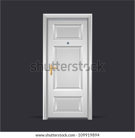 Vector Interior apartment white door isolated on black - stock vector