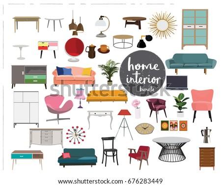 Vector Interior Design Elements Furniture Mid Stock Vector 676283449
