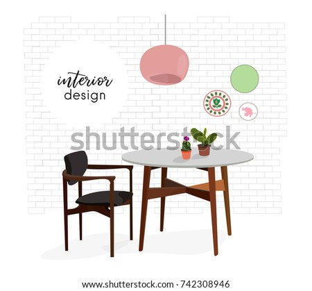 Vector Interior Design Illustration Dining Room Kitchen Furniture Chair Table Home House Decor