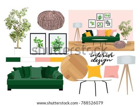 Vector Interior Design Illustration. Furniture Collection Elements. Mood  Board Of Interior Design. Material