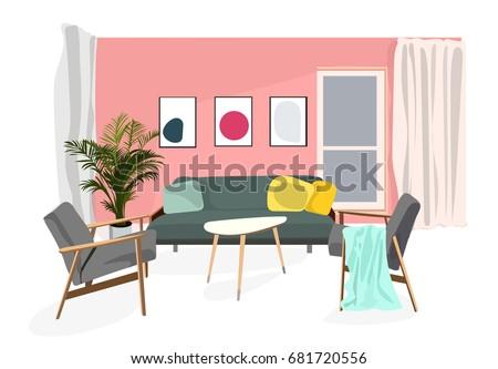 Vector Interior Design Illustration Living Room Stock Vector (2018 ...