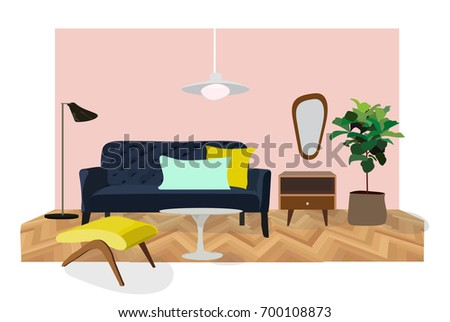 Vector Interior Design Illustration Living Room Stock Vector ...