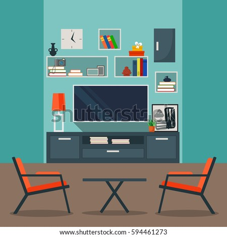 Vector Interior In Flat Design Living Room With Furniture