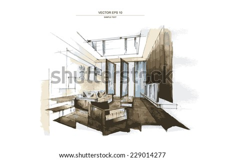 Vector Interior Sketch Design Of Living Room Watercolor Sketching Idea On White Paper