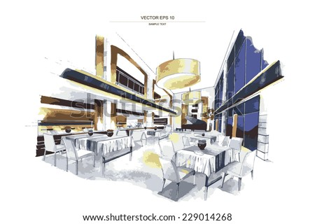 """Vector interior sketch design of """"Restaurant Space"""". Watercolor sketching idea on white paper background. - stock vector"""