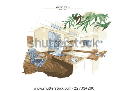 "Vector interior sketch design of ""Working Area"". Watercolor sketching idea on white paper background. - stock vector"
