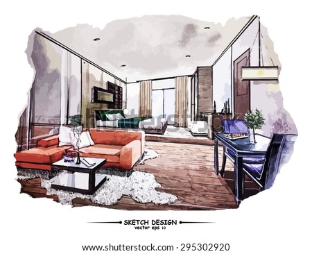 Vector interior sketch design. Watercolor sketching idea on white paper background - stock vector