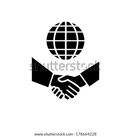 vector international business icon with gloe and hand shake | flat design black pictogram on white background - stock vector