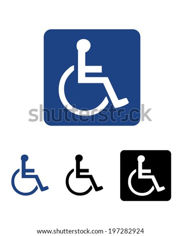 Vector International wheelchair and disability symbol set - stock vector
