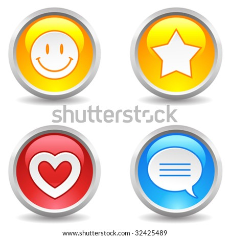 vector internet buttons - smiley, star, favorite, comment - stock vector