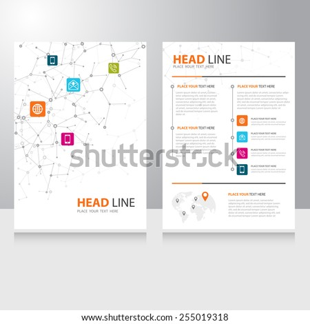 Vector internet communication Brochure Flyer design template with polygonal wireframe background - stock vector