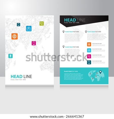 Vector internet communication world map Brochure Flyer design template with polygonal wireframe background