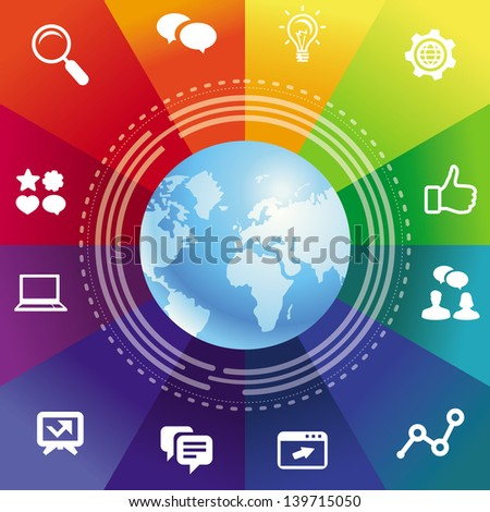 Vector internet concept with rainbow background and social media icons - stock vector