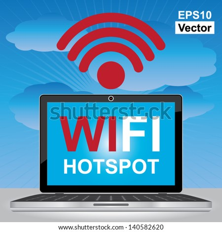 Vector : Internet Hotspot, Internet Cafe or Technology Concept Present By Computer Laptop or Computer Notebook With Blue Screen and Wifi Hotspot Sign Inside in Blue Sky Background - stock vector