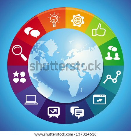 Vector internet marketing concept - abstract background with globe and icons - stock vector