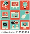 Vector internet marketing icons - set in retro style - stock photo