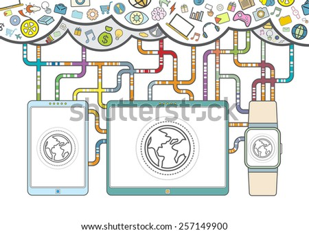 vector internet of things, mobile device information media technology, thin line style - stock vector