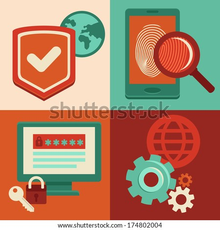 Vector internet security concepts and icons in flat style - identification and protection with password, fingerprint and antivirus - stock vector