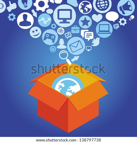 Vector internet  shopping concept - delivery box with social media icons - stock vector