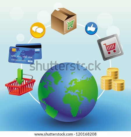 Vector internet shopping concept - with globe and icons - stock vector