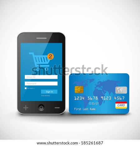 vector internet shopping with smart phone and credit card