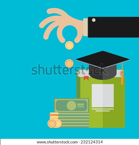 Vector invest in education concept in flat style - stack of coins and book with university hat - stock vector