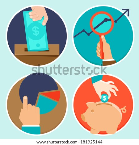 Vector investment and finance concept in fla style - money and business icons - stock vector