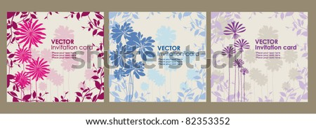 Vector invitation card on floral background - stock vector