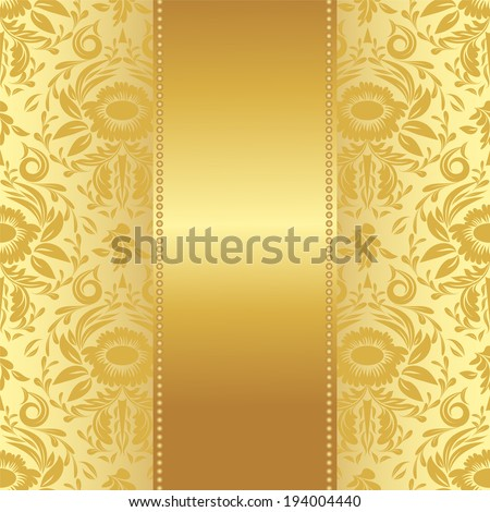 vector invitation card or greeting card with flower ornament and golden ribbon