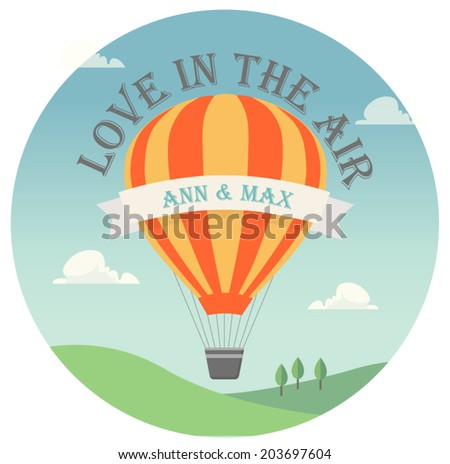 Vector invitation card with flying hot air balloon in the sky with text - stock vector
