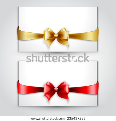 Vector Invitation card with Gold and red holiday bow