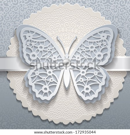 Vector invitation card with ornament and butterfly - stock vector